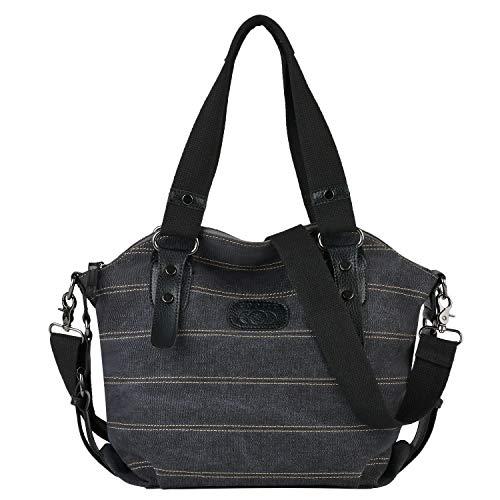 COOFIT Damen Handtasche Bunt Multi-Color-Striped Handtasche Shopper Canvas Umhängetasche Damen Schultertasche (Schwarz)
