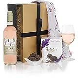 Bezaubernder Geschenkkorb-Set für Damen - Luxus Geschenkkörbe für Sie - Rosé Wein & Pralinen Geschenkkorb