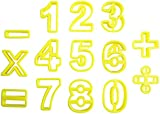 14 Piece Yellow Plastic Mathematical Number Biscuit Pastry Cookie Cutter Set by kurtzyTM