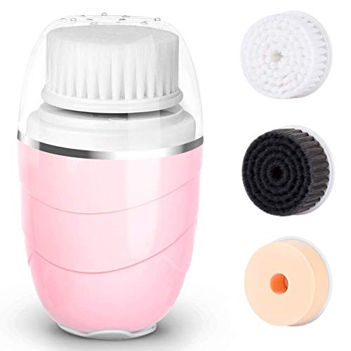 Gesichtsreinigungsbürste,IPX6 wasserdicht Gesichtsbürste,USB aufladen Reinigung von Gesicht,3 in 1 Elektrisch Make-Up Entferner Gesichtsbürste-ROSA