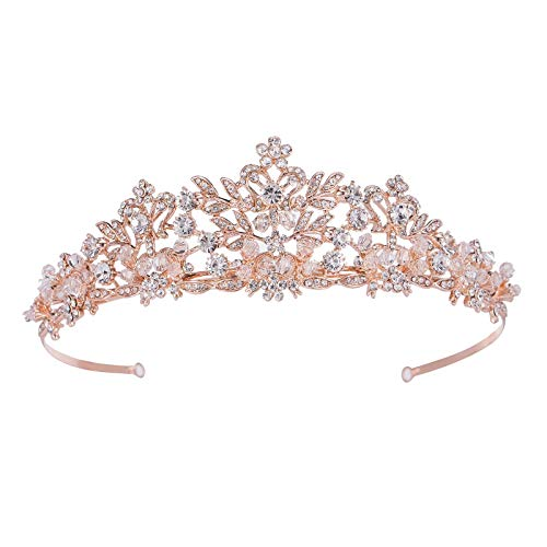SWEETV Luxus Kristalle Prinzessin Krone Braut Tiara Diadem für Hochzeit Festzüge Abschlussbälle, Roségold