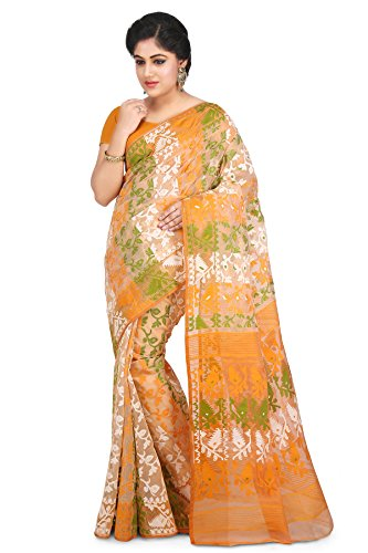 Wooden Tant Multicolored Art Silk Dhakai Jamdani Handloom Women Saree With Blouse...