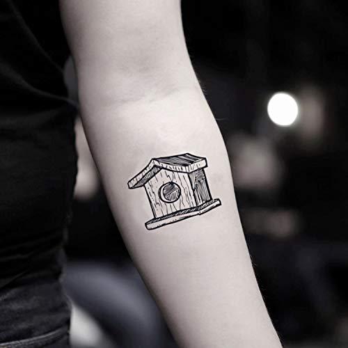 Vogelhaus temporäre gefälschte Tätowierung Aufkleber abwaschbares Tattoo (Set von 2) - www.ohmytat.com -