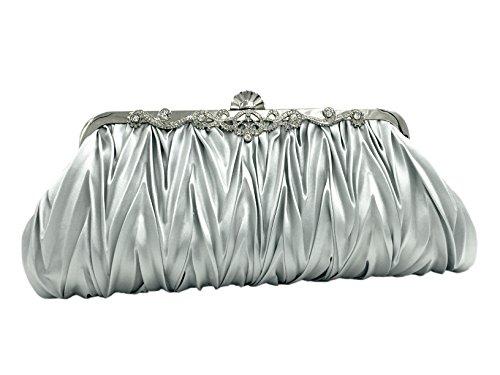 Uni-love Damen Jahrgang Satin Umschlag Cocktail Abend Tasche elegante Abendtasche Beutel Party Handtasche Silber
