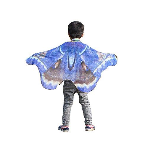 YWLINK Karneval Chiffon Jungen MäDchen Schmetterling FlüGel Drucken Umhang Klassisch Cosplay ZubehöR Kind Weihnachten Halloween Schal Pashmina KostüM ZubehöR(100 * 73CM,B Dunkelblau)