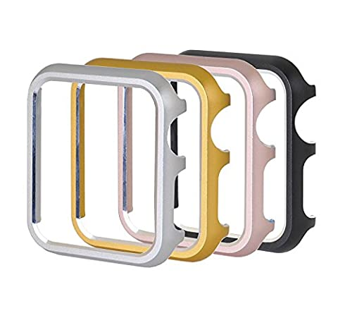 [4 Color Pack] Apple Watch Case, PUGO TOP Aluminum Protective Bumper Case for Apple Watch Series 2 /Series 1-42mm