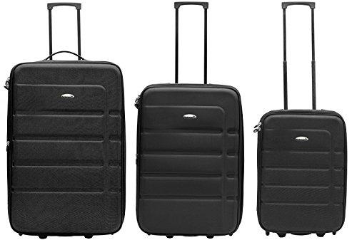 Packenger Easy Traveller Koffer 3er-Set aus Nylon in der Farbe Schwarz. Abmessungen: Größe M (Bordcase), L und XL