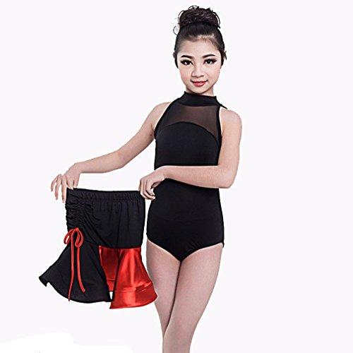 üme Mädchen Training Rayon Split Joint Kurzen Ärmeln Natürlichen Röcke Top,Red,130 (Red Tutu Kostüm Idee)