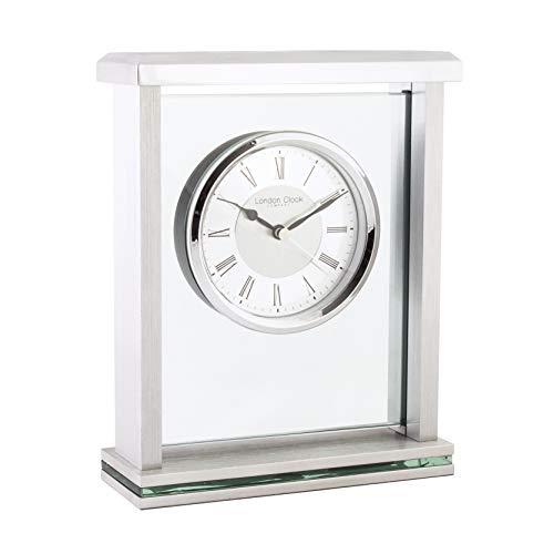 London Clock Argent Dessus Plat de cheminée, 21 x 16.5 x 6 cm