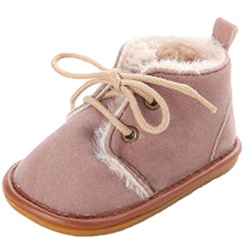 Lalang Bottes de Neige Bébé Fille Garçon Bottines Chaussures Premiers Pas Chaud Hiver Chaussons,0-18 mois Brun