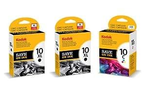 2x Kodak 10XL (High Capacity-770 pages) Black & 1x 10c Colour Ink Cartridge for EASYSHARE 5000 series ESP 3 ESP 5 ESP 7 ESP 9 3200 3250 5200 5250 5300 5500 7200 7250 9200 9250 series ESP Office 6100 6150 series Hero 6.1 7.1 9.1 Printers - Free Delivery & VAT invoice