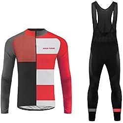 Uglyfrog Homme Hiver Fleece Maillot de Cyclisme Jersey Manches Longues + Pantalons 3D Coussin Respirantes Séchage Rapide Vêtements de Cyclisme Vélo VTT Sports de Plein Air