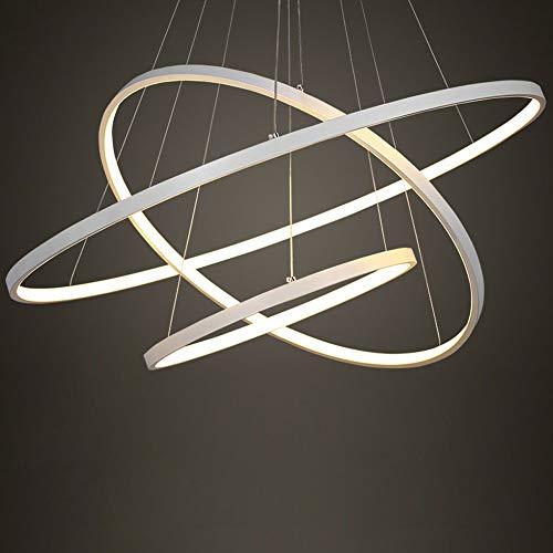 Eurekaled - Lampadario a sospensione LED moderno 3 anelli, luce fredda