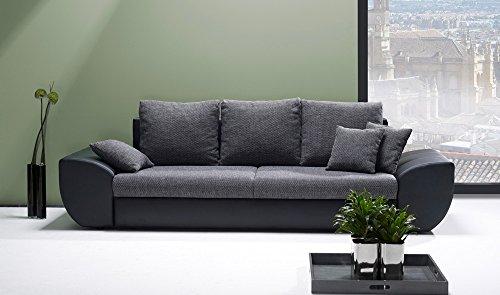 Big Sofa schwarz-grau mit Schlaffunktion und Bettkasten, Kunstleder | XXL Couch | Großes Relexsofa | Megasofa | Schlafsofa