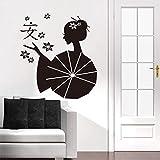qhtqtt Stickers Muraux Asie Japonais Geishas Zen Sticker Mural Papier Peint Art...