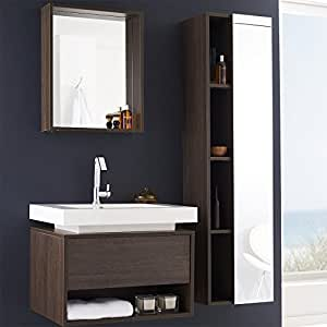 ensemble meubles suspendu salle de bain pose mural meuble sous vasque lavabo 1 tiroir. Black Bedroom Furniture Sets. Home Design Ideas