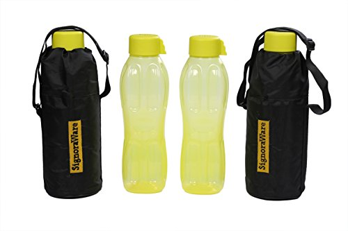 Signoraware Aqua Water Bottle With Bag Set, 1 Litre, Set Of 2 Floro Green