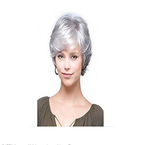 longlove kurz grau, Natural gewellt flauschig Curly Echthaar Perücke für Frauen und Oma
