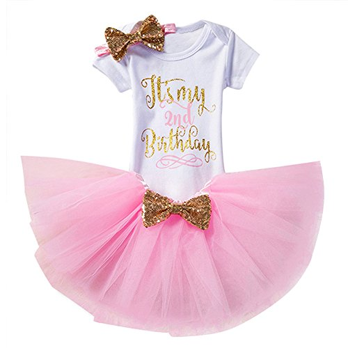d02b62a73 Gagacity Infantil 3pcs bebé recién nacido muchachas del niño del 1er / 2o  cumpleaños mameluco del