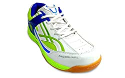PRO ASE Court Badminton Shoe White/Green/Blue (11)