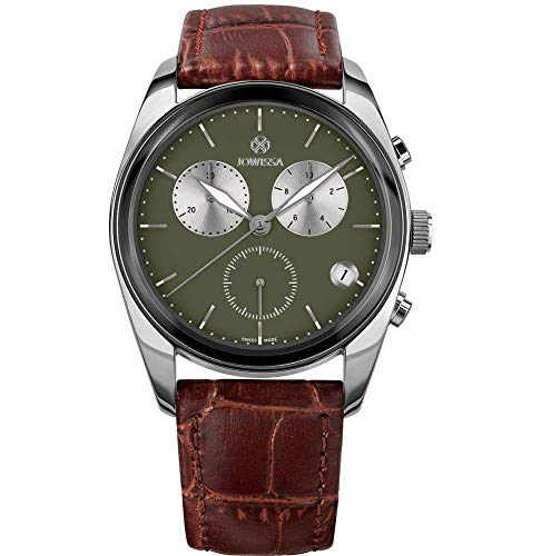 Jowissa Lux Swiss J7.094.L - Reloj para Hombre, Color Verde Oliva/marrón/Plateado