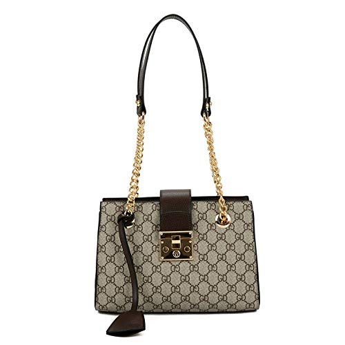 LFGCL Bags womenCasual Umhängetasche für Frauen Chain Print Plaid Tote Women, Coffee Color