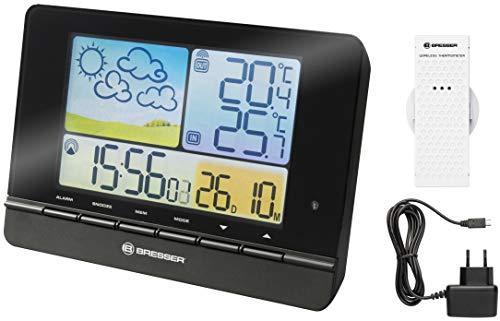 Bresser Wetterstation Funk mit Außensensor MeteoTrend Colour mit großem Farbdisplay, DCF-Funksignal, grafischem Wettertrend, Innen- / Außentemperatur und Alarmfunktion