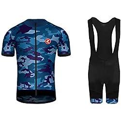 Uglyfrog 2019 Ciclismo Ropa, Hombres Maillot/Jersey + Pantalones Cortos Babero Mangas Cortas de Ciclismo Ropa Maillot Transpirable para Deportes al Aire Libre Ciclo Bicicletaa