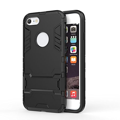 iPhone Case Cover 2 in 1 New Armour Tough Art Hybrid Dual Layer Rüstung Defender PC Hard Cases mit Ständer Stoß- Fall für iPhone 7 ( Color : Gold , Size : IPhone 7 ) Black