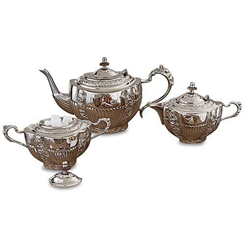 Loberon Tee-Set Ingliston, Messing, H/B/T ca. 16/29 / 14 cm, silber Silber Tee-set
