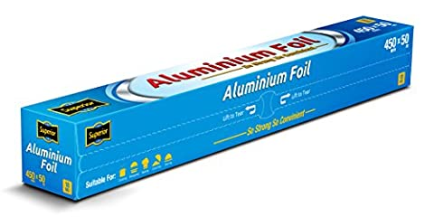 Superior Premium Heavy Duty Quality Food service Catering Aluminium Foil Roll 45cm x 50 meters 18 micron (1 Roll)