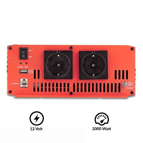ECTIVE SI-Serie | Sinus Wechselrichter 2000W | 12V zu 230V | 7 Varianten: 300W - 3000W | 12 Volt 2000 Watt Spannungswandler DC auf AC, 12 V auf 230V Stromwandler, Inverter mit reiner Sinuswelle - 3