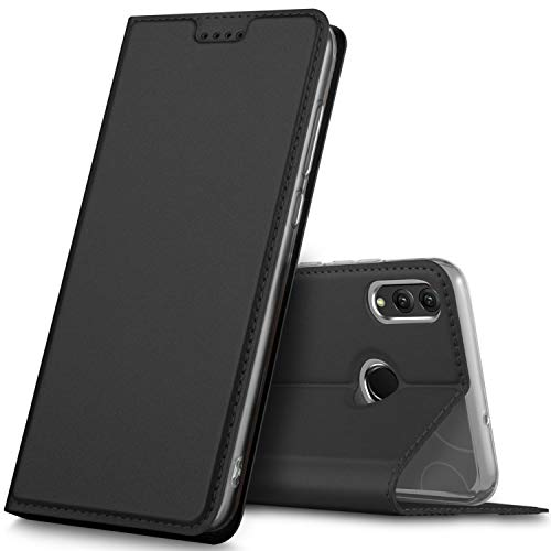 GeeMai für Honor 8X Hülle, Honor View 10 Lite Hülle, Leder Hülle Flip Case Tasche Cover Hüllen mit Magnetverschluss [Standfunktion] Schutzhülle Handyhülle für Honor 8X Smartphone, Schwarz - 8 X 10 Art