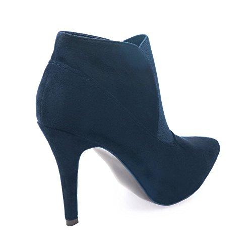 La Modeuse - Bottines en simili daim à talons fins et bout pointu Bleu Marine