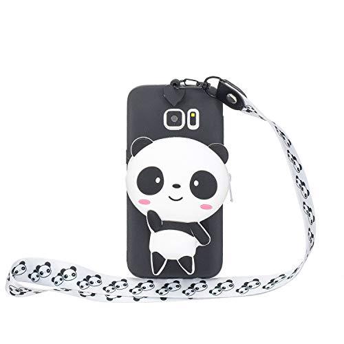 Miagon Silikon Hülle für Samsung Galaxy S7 Edge,3D Süß Brieftasche Lager Tasche Design mit Halskette Kordel Schnur Handykette Necklace Band,Panda