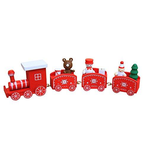 Spielzeugeisenbahn Holz kleiner Zug Weihnachtszug Weihnachten Neujahr Deko Dekoration Ornament für Kinder Mädchen Junge Spielzeug Geschenke Tassenhalter der WeihnachtsZug (Rot) (Weihnachten Zug Dekorationen)