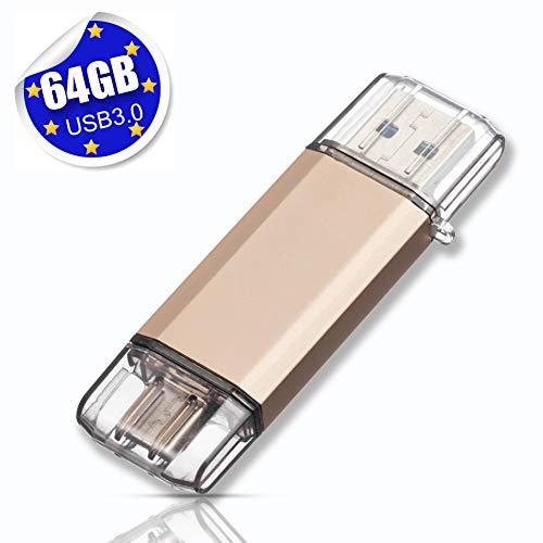 USB Stick 64GB USB C Stick Dual Memory Stick USB 3.0 Flash Drive 2 in 1 Typ-C Speicherstick USB Flash Gold - 1 Usb 2.0 Flash