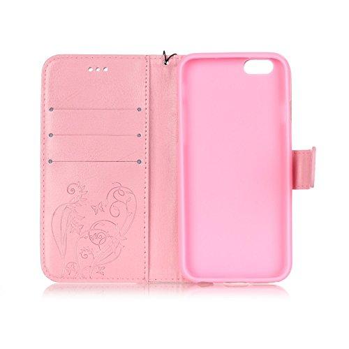 Custodia iPhone 7/iPhone 8 (4.7), EUWLY Protettiva Cover Case in PU Pelle per [iPhone 7/iPhone 8 (4.7)], Gillter Brillante Diamante Bling Strass Disegno PU Leather Custodia Case Goffratura Fiore Pur Rosa