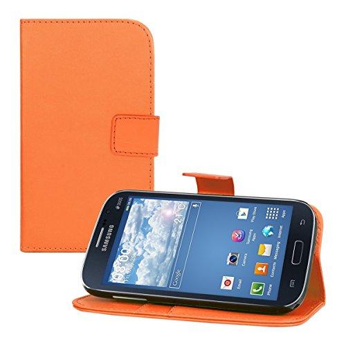 kwmobile Hülle für Samsung Galaxy Grand Neo / Grand Duos - Wallet Case Handy Schutzhülle Kunstleder - Handycover Klapphülle mit Kartenfach und Ständer Orange (Samsung Galaxy Grand 2 Duos Case)