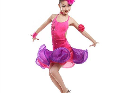 Mädchen Kinder Latein Tanz Kleidung Latin Rock Kinder tanzen Rock Tanz Kleidung Wettbewerb stieg rot/grün, 150cm, Rose red