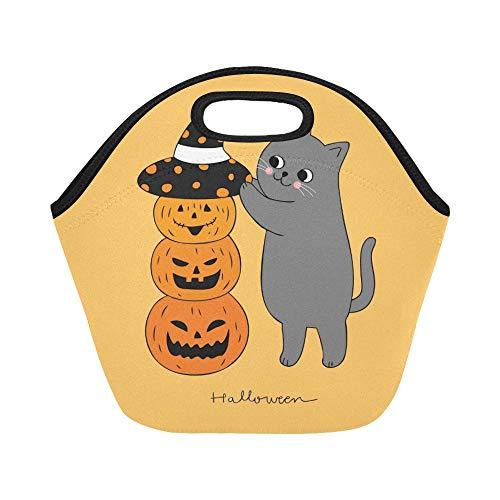 Isolierte Neopren-Lunchpaket-Karikatur-nette Halloween-Katzen-Hut-Kürbis-große wiederverwendbare thermische starke Mittagessen-Taschen-Taschen für Mittagessen-Kästen für im Freien arbeiten Büro (Katze Im Hut Kürbis)
