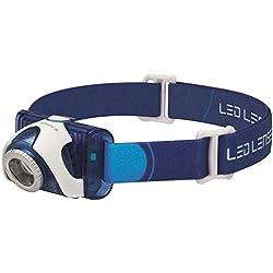 LED Lenser SEO 7R Lampada Frontale / Torcia Frontale a LED (Bianco) con Testa Inclinabile, Ideale per Camping/Outdoor/Bici/Corsa/Caccia/Pesca/Auto/Moto/Barca, Blu