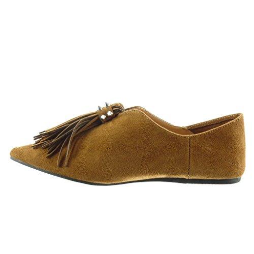 Angkorly - damen Schuhe Mokassin - Slip-On - Fransen - Nieten - besetzt flache Ferse 1 CM Camel