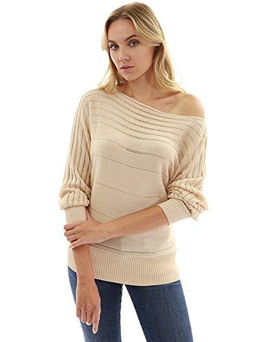 PattyBoutik Damen One Shoulder Pullover mit Boot Auschnitt und Fledermaus Ärmeln Beige
