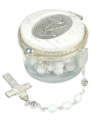 Zur heiligen Kommunion... Rosenkranz in Weiß & Silber, im Deckeldöschen