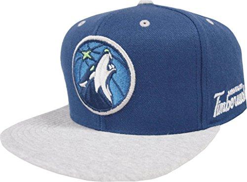 2-tone Baseball Cap (Mitchell & Ness Minnesota Timberwolves HUD101 2 Tone Heather Grey Snapback Cap NBA Kappe Basecap)
