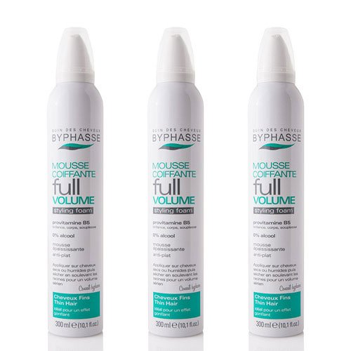 Byphasse LOT DE 3 - Mousse Coiffante Full Volume pour Cheveux Fins - 300 ml