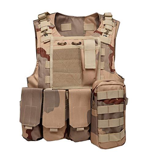 Gilet tactique de camouflage de désert, gilet de combat d'assaut militaire réglable d'armée, gilet de transporteur de tireur de paintball d'airsoft, poche démontable de ceinture de protection extérieu