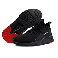 ASOSMOS Mens Black Safety Shoes Heavy Duty Sneaker Work Boots Breathable Anti-Slip Puncture Proof