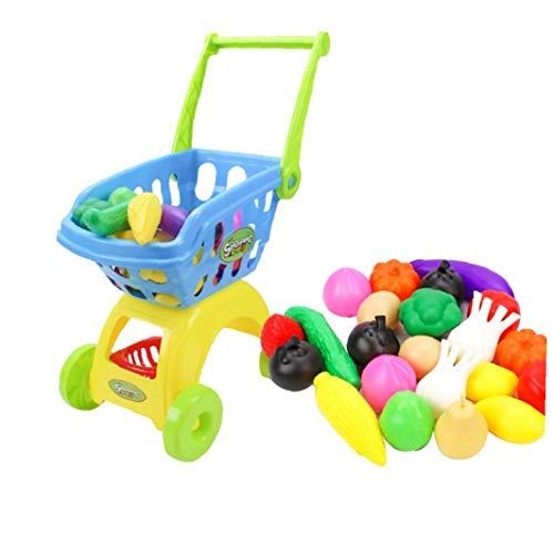 Niños de compras Carros de juguete carro de compras para los niños de comestibles Compras Con Pretend Accesorios Alimentos primeros Eudcational juguetes para los niños 24PCS niños y niñas